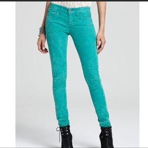 Free people green corduroy skinny Jeans Sz 26